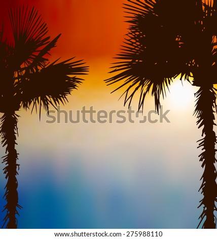 Illustration tropical palm trees, sunset background - raster - stock photo