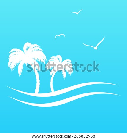 Illustration tropical paradise background with palm trees and sea - raster - stock photo