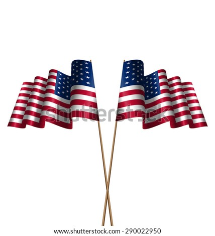 Illustration Two Flags USA Waving Wind as Symbolic for Independence Day 4 th of July, Isolated on White Background - raster - stock photo