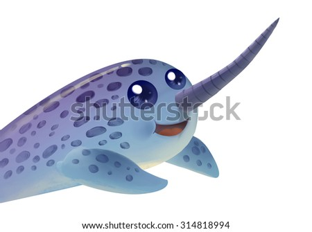 Illustration: Unicorn Elephant Seal. Fantastic Cartoon Style Character Design. - stock photo