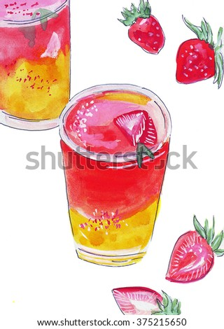 Illustration useful fitness cocktail health of strawberries in a glass