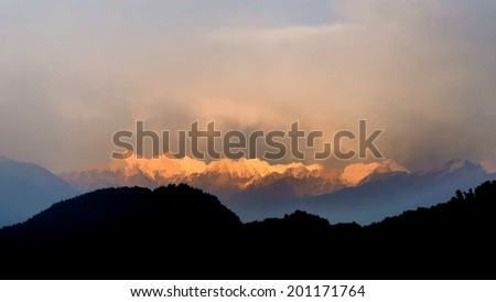Illustration view of mountain range at dawn
