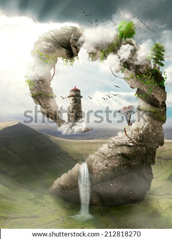 Illustration, view of  surrealistic dreamland, natural stoned bridge to the lighthouse. Original, artistic screen saver. Magical mountain. Paradise, fantasy land, fairy tale world concept.  - stock photo