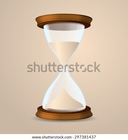 Illustration vintage hourglass isolated on beige background - raster