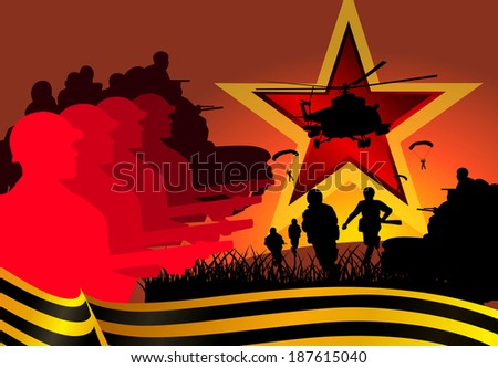 illustration War soldiers tanks star giorgievskaya Tape - stock photo
