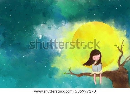 illustration water color drawing of lonely girl sitting on tree branches reading book over full moon