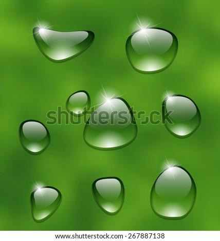 Illustration water drops on fresh green leaf - raster - stock photo