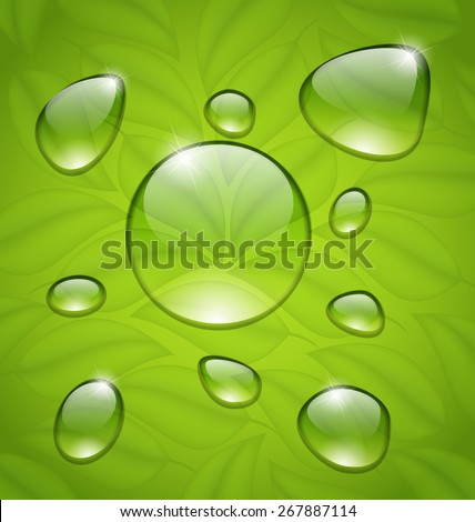 Illustration water drops on fresh green leaves texture - raster - stock photo