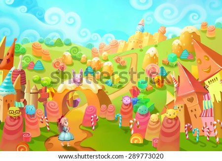 Illustration: Welcome to the Candy Land! The little princess lost in forest and meet the little candy world. Those candy creatures saw her too. Welcome, they seems said. - Fantastic Style Scene Design - stock photo
