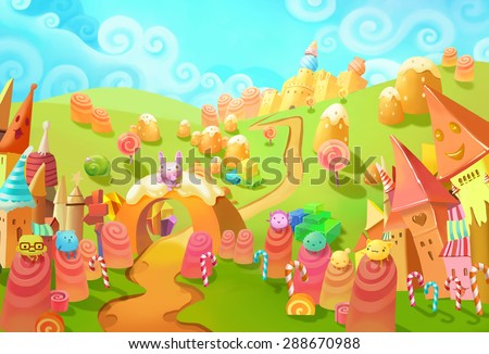 Illustration: Welcome to the Candy Land! You lost in forest and suddenly meet the little candy world. Those little candy creatures saw you too. Welcome, they seems said. - Fantastic Style Scene Design - stock photo