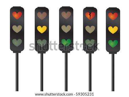 illustration which many expressions of heart  by merging Traffic signal with Heart shape light. - stock photo
