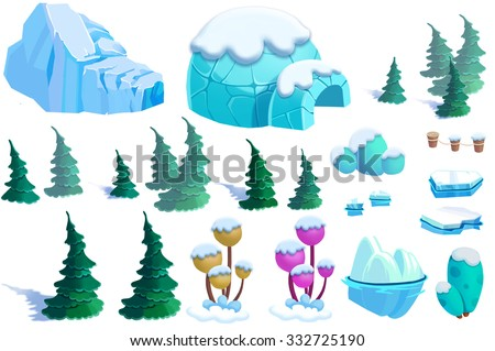Illustration: Winter Snow Ice World Theme Elements Design Set 2. Game Assets. Pine Tree, Ice, Snow, Eskimo Igloo. Realistic Cartoon Style Elements / Illustrations / Objects / Game Assets Design.  - stock photo
