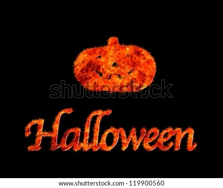 Illustration with a flame Halloween on a black background. - stock photo