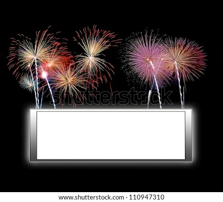 Illustration with a framework white background and fireworks - stock photo