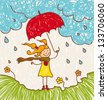 Illustration with a  little girl with a red umbrella goes. - stock photo