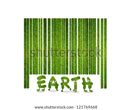 Illustration with a nature barcode and grass. - stock photo