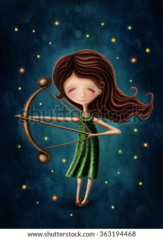 Illustration with a sagittarius astrological sign girl - stock photo