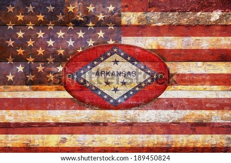 Illustration with a wooden flag of Arkansas.