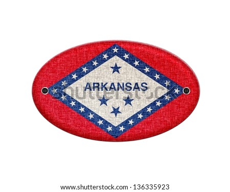 Illustration with a wooden sign of Arkansas.