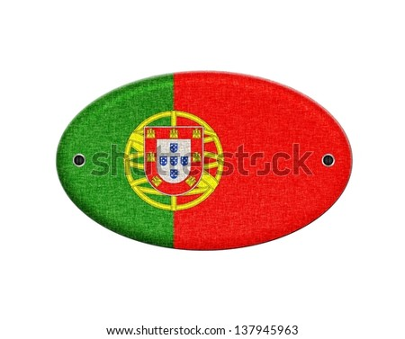 Illustration with a wooden sign of Portugal.