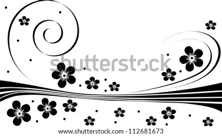 illustration with abstract black flower decoration
