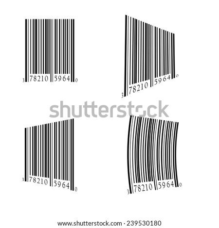 illustration  with bar code set on white background - stock photo