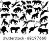 illustration with big cat silhouettes isolated on white background - stock photo