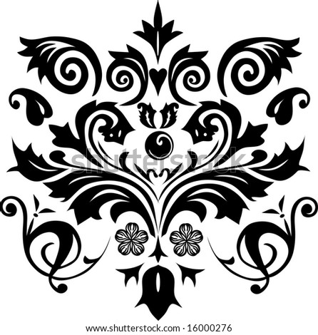 illustration with black and white flower ornament