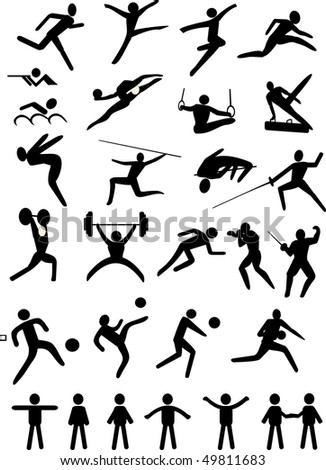 illustration with black sport icons isolated on white background