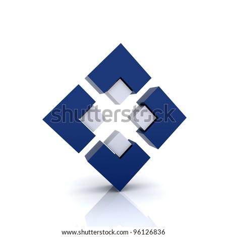 Illustration with 4 blue elements (unity symbol) - stock photo