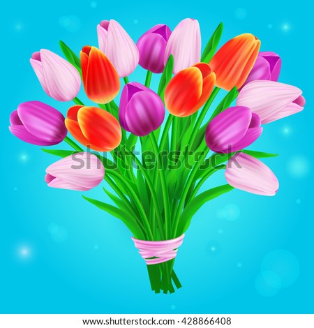 Illustration with bouquet of colorful tulips. Can be used for invitation cards. Raster version - stock photo