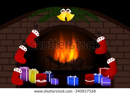 Illustration with Christmas gifts and cosy fireplace. Raster version - stock photo