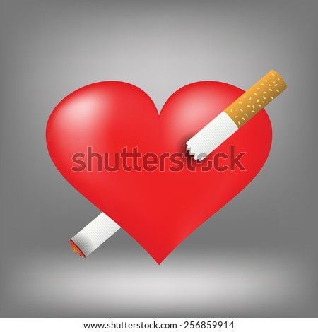 Illustration  with cigarette and heart on grey background. Graphic Design Useful For Your Design.Red heart pierced by burning cigarette. - stock photo