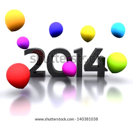 illustration - 2014 with colorful balloons - stock photo