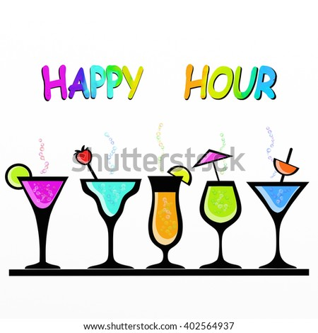 illustration with colorful cocktail glasses