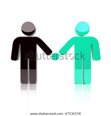 Illustration with concept of friendship, partnership - stock photo