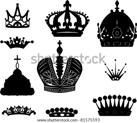 illustration with crown collection isolated on white background - stock photo