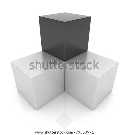 Illustration with cubes union concept (black collection) - stock photo