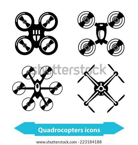Illustration with different quadrocopters icons in minimal style. Rasterized version. - stock photo