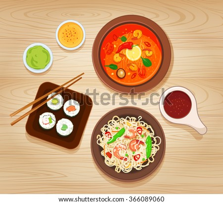 Illustration with Different Types of Asian Cuisine. Raster JPG version  - stock photo