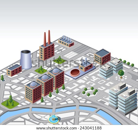 Illustration with elements of urban and industrial buildings - stock photo
