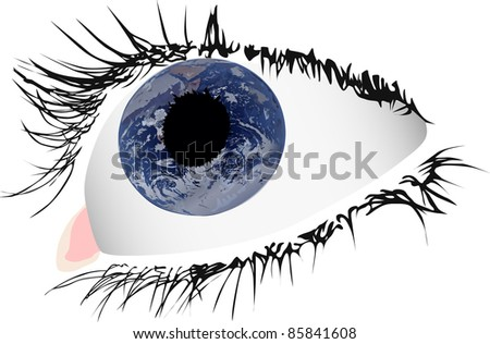illustration with eye and earth reflection
