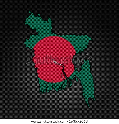 Illustration with flag in map on carbon background - Bangladesh - stock photo