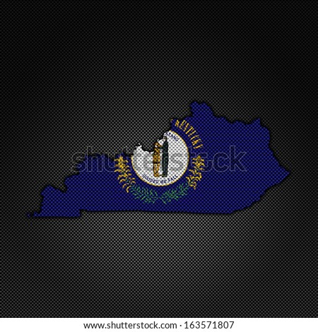 Illustration with flag in map on carbon background - Kentucky