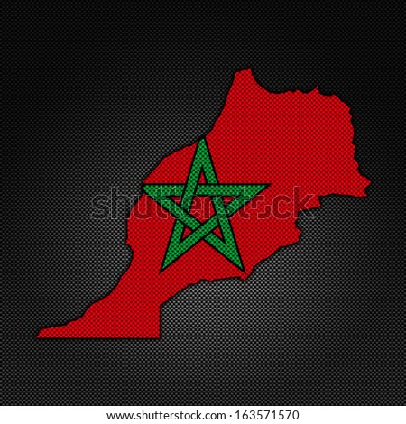 Illustration with flag in map on carbon background - Morocco