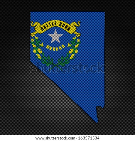 Illustration with flag in map on carbon background - Nevada