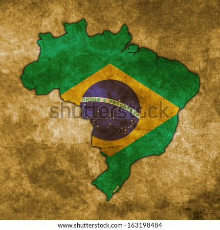 Illustration with flag in map on grunge background - Brazil - stock photo