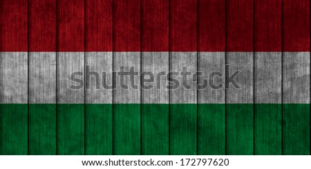 Illustration with flag in map on grunge background - Hungary - stock photo