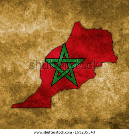Illustration with flag in map on grunge background - Morocco