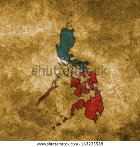 Illustration with flag in map on grunge background - Philippines - stock photo